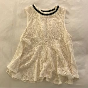 Free People Lace Tank with Keyhole Back
